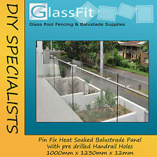 Balustrade Pin Fixed Glass Panel - 1000w x 1230h x 12mm - WITH HANDRAIL HOLES