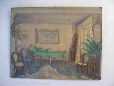 peinture à huile datée 1954 sur isorel par Leusse New york usa