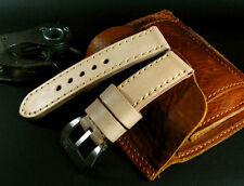 Tan Beige Light Brown 24mm Cow Leather Band Strap for 44mm Panerai Watch+Buckle