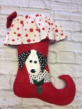 Christmas Stocking Dalmatian Dog Pieced Quilt Black White Dots Red Felt Fun!