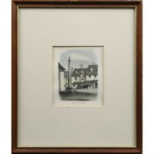 Original Framed Victorian Antique Red Lion Cross Eynsham Etching Print Engraving