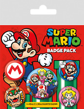Official Super Mario Bros Bowser Peach Badge Pack Of 5 Novelty Gaming Gift