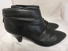 LOTUS Black Leather Ankle Boots w Ruched Detail & Small Heel UK 8 EU 42 LG04 77