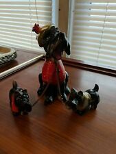 VINTAGE PORCELAIN SCOTTY DOGS and Puppies chained Scottish vest Made in JAPAN