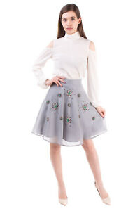 RRP €930 RARY Silk Organza Flare Skirt Size 40 / XS Embellished Made in Italy