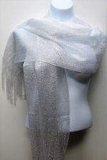 Pretty White Color Metallic Mesh Fringed Scarf Shawl Wedding Prom Pageant Dance