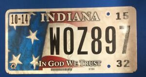 2015 Indiana License Plate, In God We Trust, WOZ897
