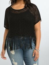 Torrid Black Open Stitch Fringe Crop Top Size: 1 aka 14 16 1X #4106