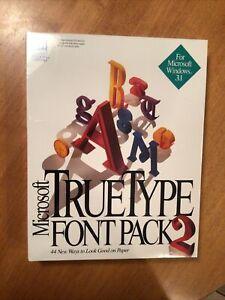 Microsoft MS TrueType Font Pack 2 for Windows, Sealed 1992 RARE