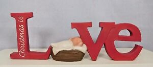 Christmas is LOVE block with Baby Jesus in manger - New Blossom Bucket #89038