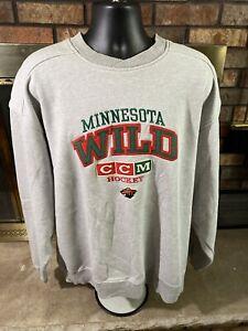 Vintage CCM Minnesota Wild NHL Hockey Crewneck Sweatshirt Jersey Mens Size LARGE
