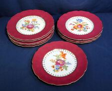 9 Vintage Antique China Service Dinner Plates Czechoslovakia Burgundy 661 520/22