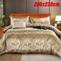 Luxury Jacquard Duvet Quilt Cover 3 Piece Satin Bedding Set Single Double King