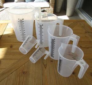 Plastic Measuring Jugs POLYPROPYLENE Sizes500ml1,2&5L Aussie Based FREE Freight