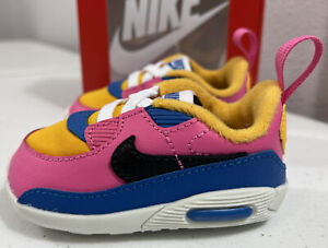 Infant Girl's Nike Air Max 90 Crib Shoes CI0424-700 Gold/Pink/Blue Size 3C