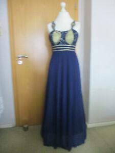 Extravagantes Abendkleid Blau Gr. 40