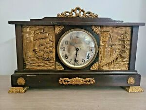Large Antique Ingraham Mantle Clock Eight 8 Day - RARE with Gold Nautical Ships