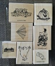 Stampin' Up HAPPY HALLOWEEN Set 7 Rubber Stamps Lot Jack-o-lantern Ghost RARE