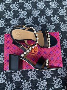 Tory Burch Emmy Pearl 65mm Sandal Black size 7.5 Block Heel
