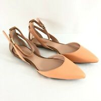 Enzo Angiolini Womens Flats Leather Pointed Toe Ankle Strap Brown Beige Size 6.5