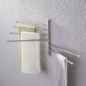 6-Arm Wall Mounted Towel Rail Rack Holder Hook Swivel Bars Bathroom Hanger Shelf