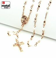 "NEW White Rose Gold Plated 4mm Bead Guadalupe Jesus Cross 25"" Rosary HR 700 RGWH"