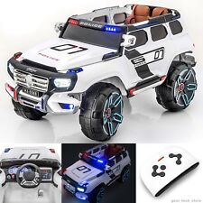 SPORTrax Kids Ride On Police Car SUV Truck, Remote Control LED Lights With MP3