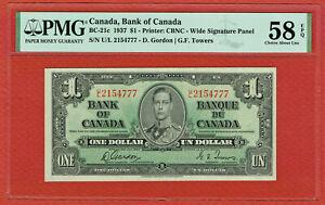 CANADA 1937 $1.00  GORDON-TOWERS (BC-21c) PMG CH AU 58 EPQ