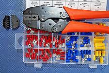 Crimpzange + 150 Kabelschuhe Flachstecker Stoßverbinder Stecker Quetschzange