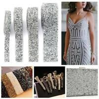 Rhinestone Crystal Applique Silver Chain Tassel Trim Dress Costume Sewing 1 Yard