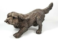 """Large Sterling Silver Cocker Spaniel Dog Sculpture Statue Circa 1995 6"""" Signed"""