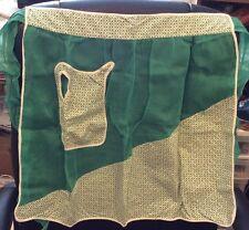 Vintage Green Half Apron W/ Appliqué Pitcher Pocket