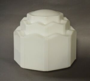 Antique ART DECO White Milk Glass Skyscraper 3-Tier Ceiling Light Fixture Shade