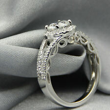 Art Deco Engagement Rings 925 Silver 1.75 Tcw Round Cut Near White Moissanite