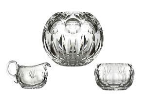 Rose Bowl Votive Candle Holder Creamer Sugar Bowl Gorham Bamberg Crystal- 3 pcs