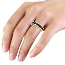 1.00ct Chanel set Blue Sapphire Women's Eternity Band 14k Yellow Gold Over