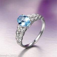 Estate 14K Solid White Gold Natural 1.35ct Aquamarine Good Diamond Ring Jewerly
