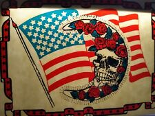 Grateful Dead Car Window Decal 1980s Red White Blue Flag Skull Roses Moon Bertha