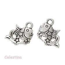 20 Antique Silver Fish Charms - 3D Pisces Pendants - Seaside Beach Stars - 15mm