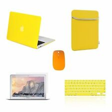"""5 IN 1 Macbook Air 13"""" Rubberized Yellow Case + Keyboard Skin + LCD + Bag +Mouse"""