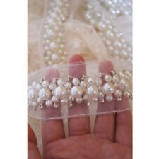 1Yard Pearl Beaded Rhineston Trim Lace Trim Wedding Dress DIY Lace Applique Trim