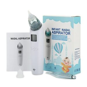 Baby Nasal Aspirator Electric Safe Nose Cleaner Music Mode 3 Level Suction 2 Tip