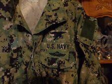 AOR2 NWU WOODLAND SHIRT Navy Seal W/ TRIDENT MEDIUM X SHORT   NEW WITH TAG