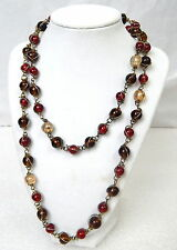 Vintage Blown Glass Bead Strand Necklace Bohemian Czech Red Amber Long Handmade