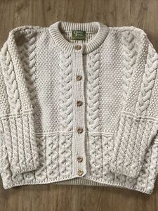 Traditional Ivory 100% British Wool Chunky Cable Knit Aran Style Cardigan XL