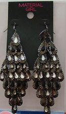 Chandelier Gunmetal Silver Earrings Material Girl Earrings Rhinestone