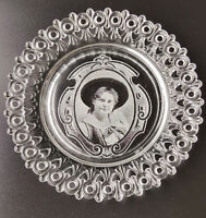 Antique glass Egg and Dart lace edge plate with real photo portrait of woman