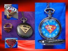 Superman POCKET WATCH RING DC Comics Gold Black Symbol Hero FATHER'S DAY 2PIECE