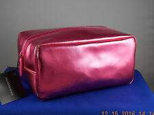 Bare Minerals Escentuals Metallic Pink Faux Leather Large Cosmetic Makeup Bag