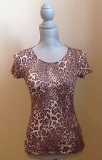Leopard Print Sheer Lacy Short Sleeve Tee by Only Hearts - Size Small